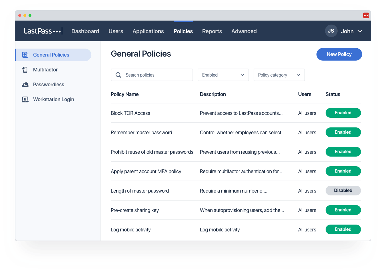 The unified admin console allows you to create and manage security policies by user group.