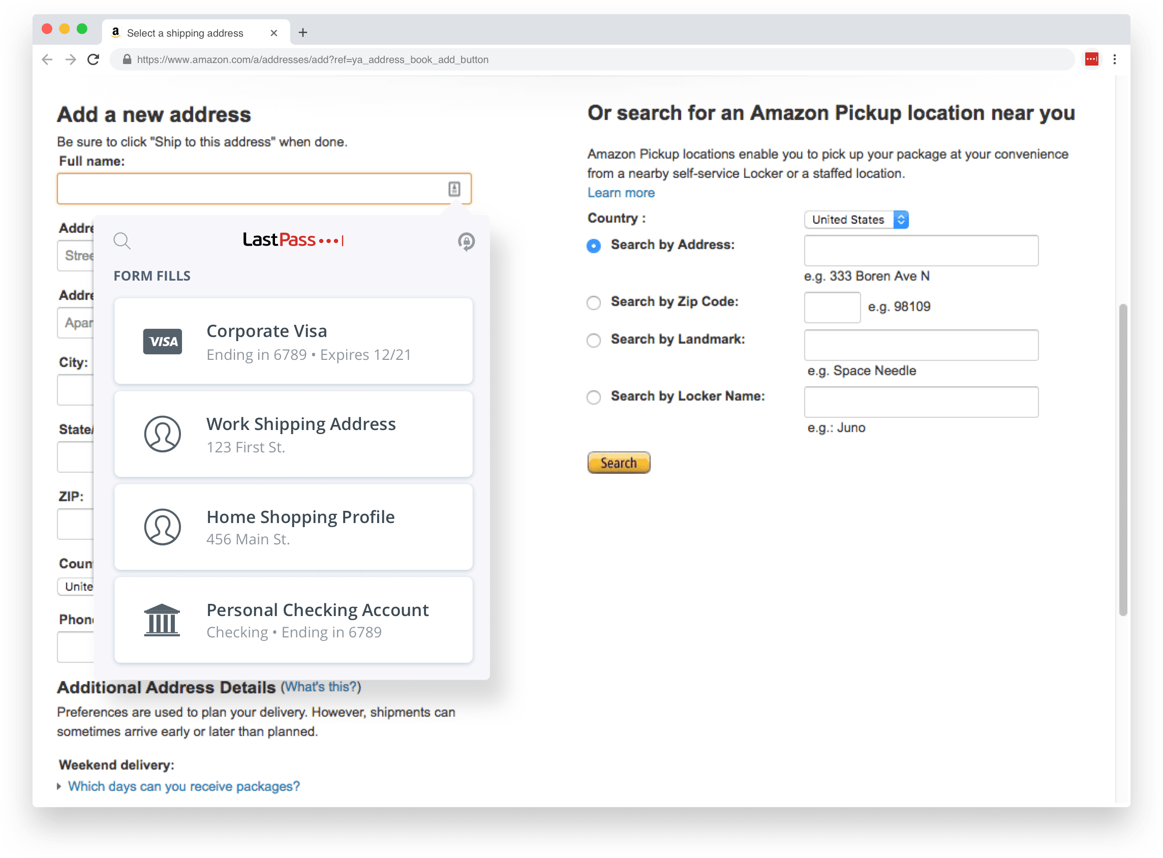 Using autofill to complete a shipping address form.